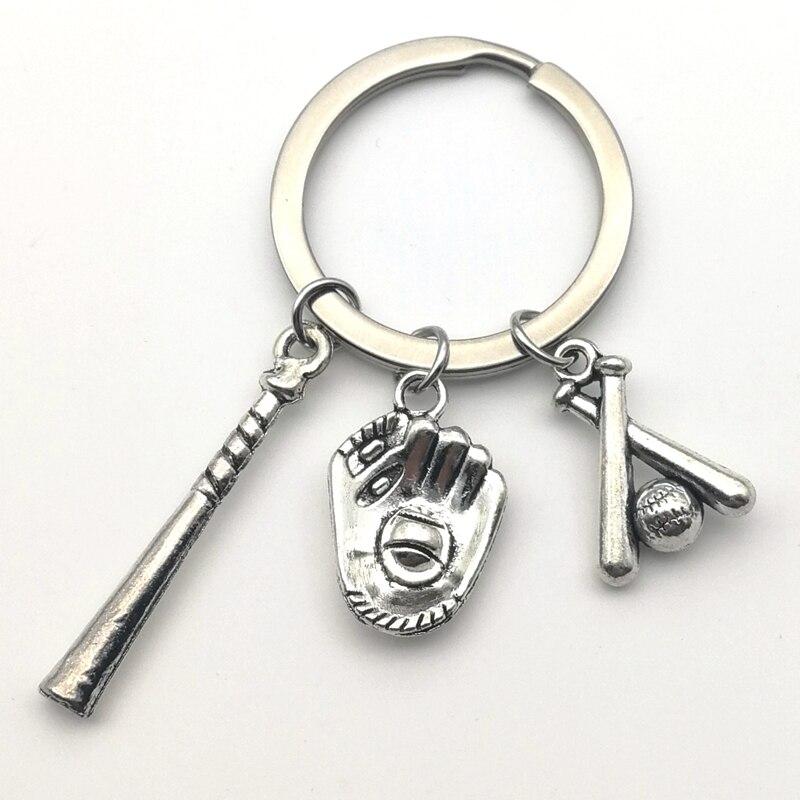 1pc I Love Baseball Keychain Baseball Gloves Hat Baseball Bat Key Ring Baseball Cap Home Run Pendant Motion Diy Handmade Jewelry