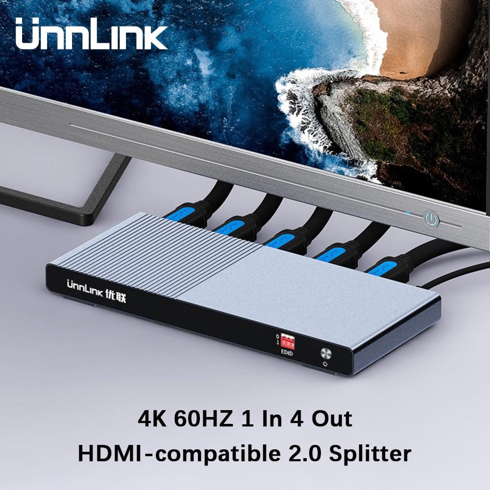 Unnlink-موزع متوافق مع HDMI 2.0 ، 1X4 UHD 4K @ 60HZ 4:4:4 HDR HDCP 2.2 18Gbp 3D لـ Smart TV MI Box PS4 xbox one Switch