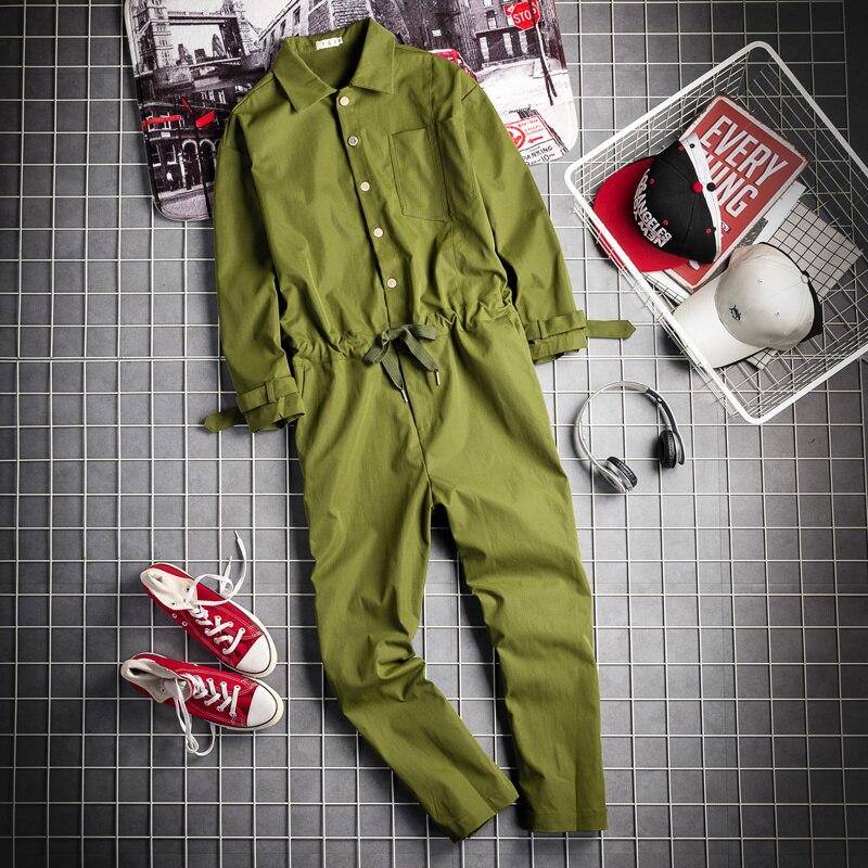 جمبسوت أنيق للرجال سراويل هاراجوكو جيرونج ملابس خروج بحمالات وأكمام طويلة غير رسمية للرجال بنطلون البضائع