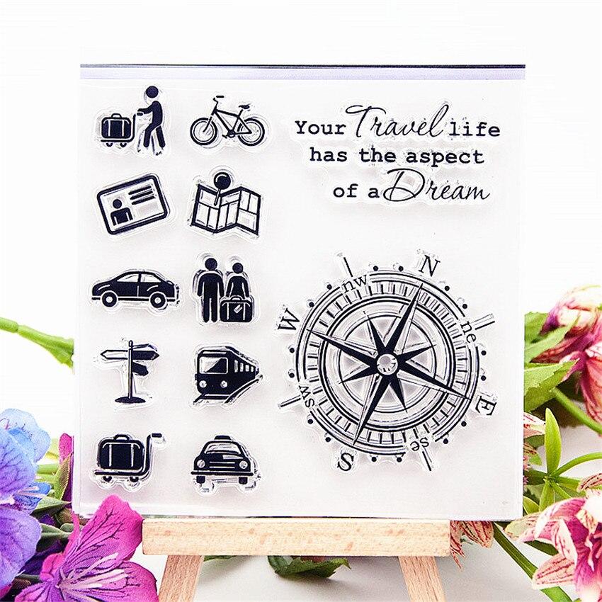 Gran oferta brújula náutica sellos transparentes claros/sellos de silicona sello de rodillo para álbum para recortes de fotos/fabricación de tarjetas