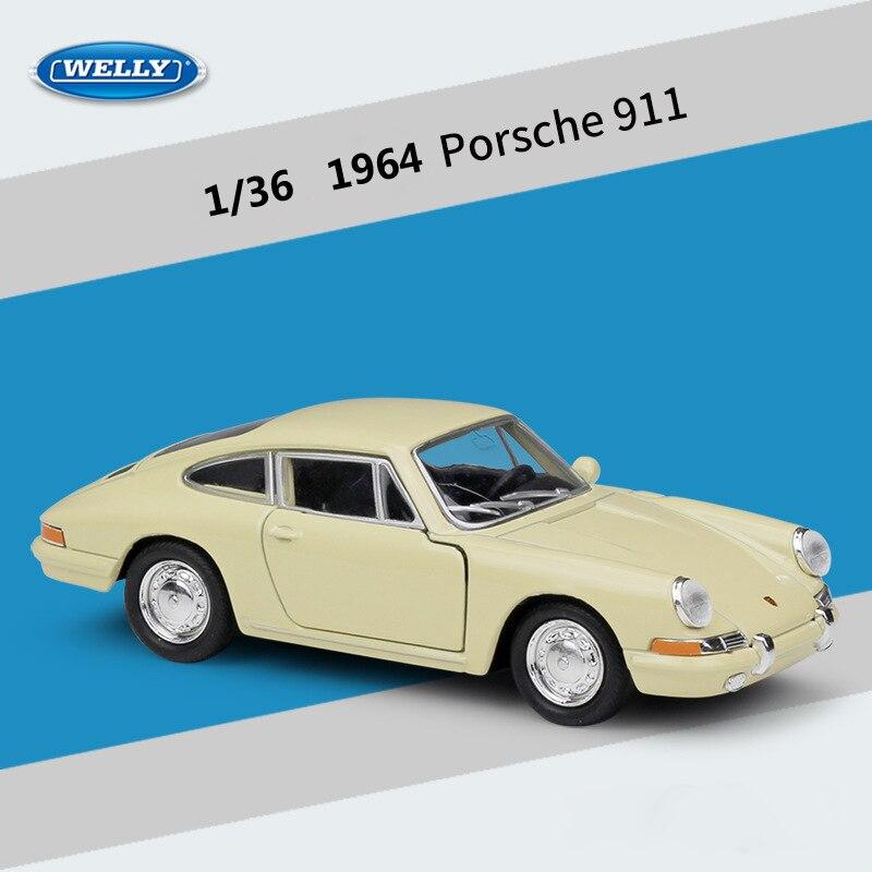 WELLY de acero fundido simulador a escala 136 modelo clásico de coche 1964 Porsche 911 coche de aleación de Metal coche de juguete para niños colección de regalos