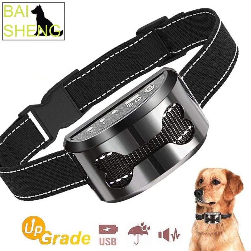5 niveles eléctrico ajustable perro corteza Collar humano contra la abrasión corteza Collar recargable para tamaño medio pequeño perros DA