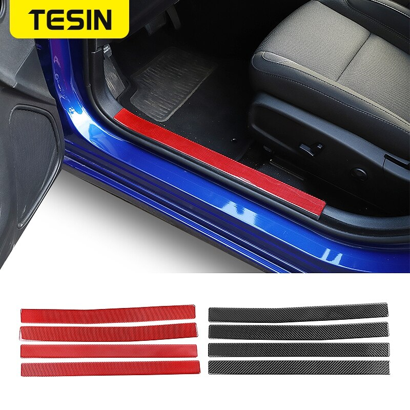 TESIN Carbon Fiber Stickers for Charger 2015+ Car Interior Door Sill Scuff Plate Guard Accessories for Dodge Charger 2015+