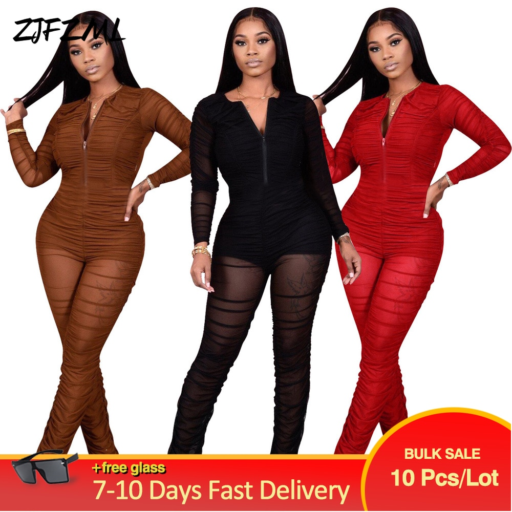 Bulk Lots Wholesale Items Casual Simple Women's Mesh Stacked Skinny Romper Early Autumn Zipper Front Full Sleeve Party Bodysuits