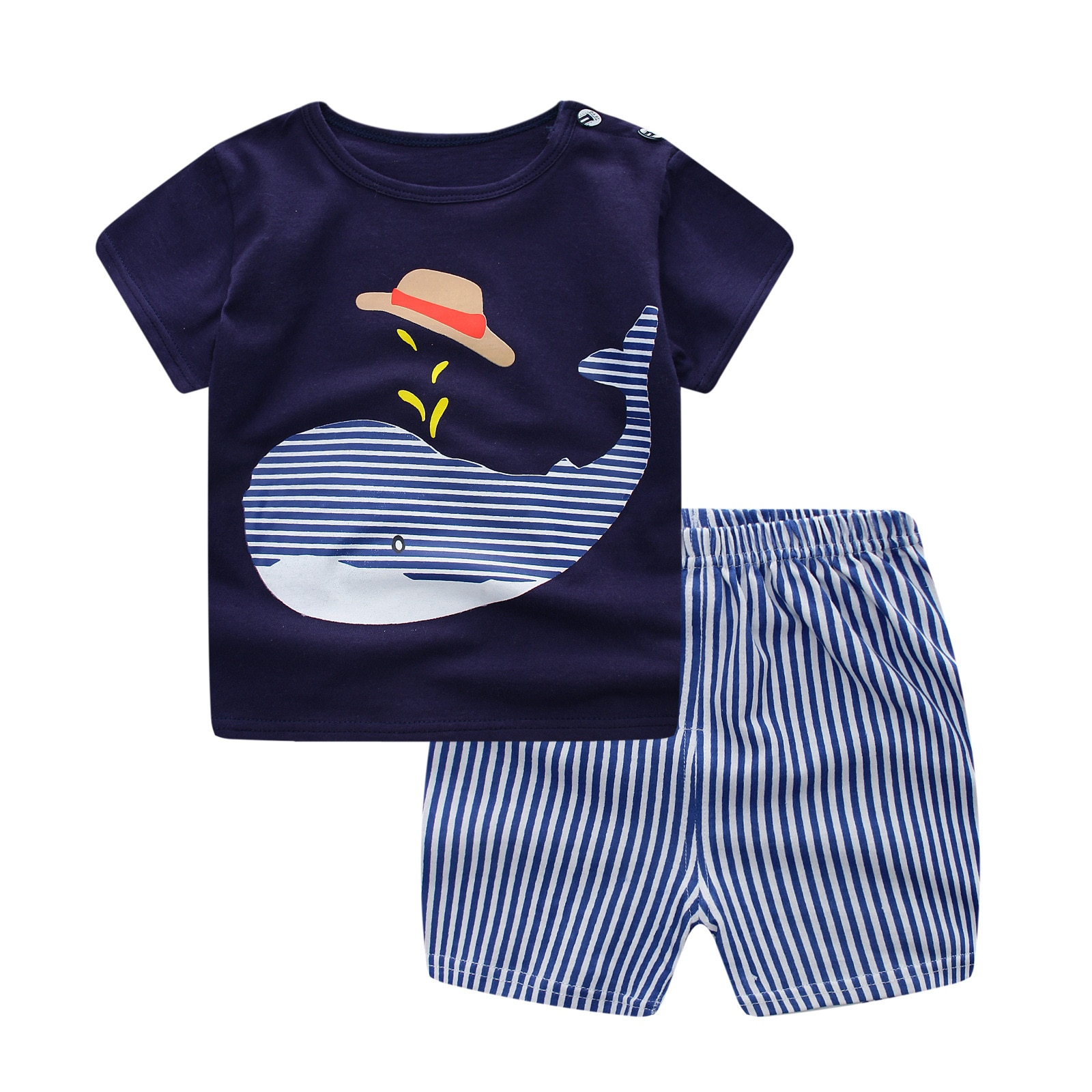 Повседневная детская одежда для маленьких мальчиков Комплекты одежды лето CartoonPrinted для девочек футболки + шорты, костюмы с принтом футболка ...