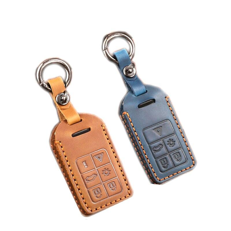 Car Key Case for Volvo Genuine Leather Handmade Crazy Horse Retro Personality Decoration
