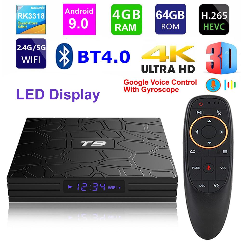 T9 android 9.0 smart tv rk3318 quad core 4 gb ram 64g rom 2.4g/5g duplo wifi bluetooth display digital 3d hdr 4 k conjunto-caixa superior