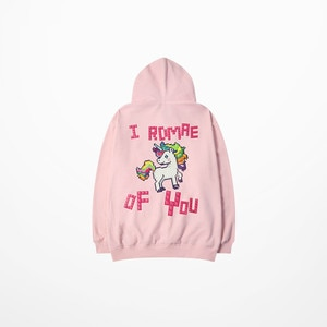 New Fashion Hoodies Cartoon Horse I Romre Of You Print Pink Hoodies Hip Hop Skateboard High Street Justin Bieber Sweatshirt Men