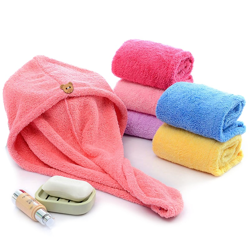 Girl's Hair Drying Hat Quick-dry Hair Towel Cap Hat Bath Hat Microfiber Solid Towel Cap Super Absorp