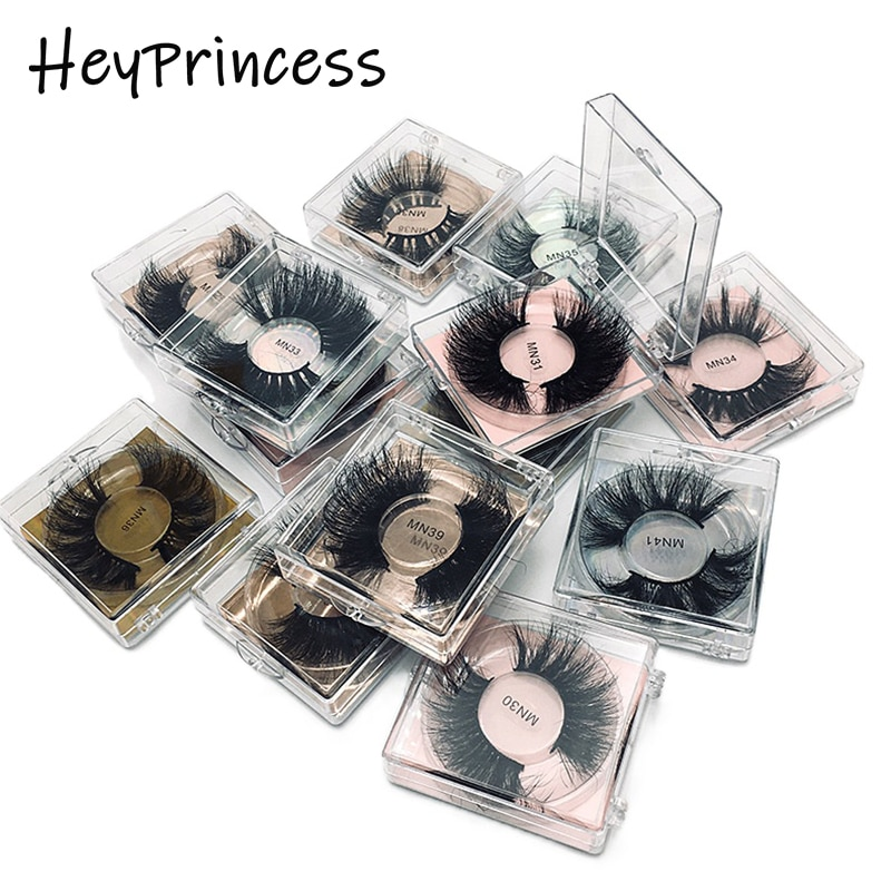 Heyprincess 25mm 27mm 100% Handmade Natural Thick Eye Lashes Wispy Makeup Extention Tools 8D Mink Ha