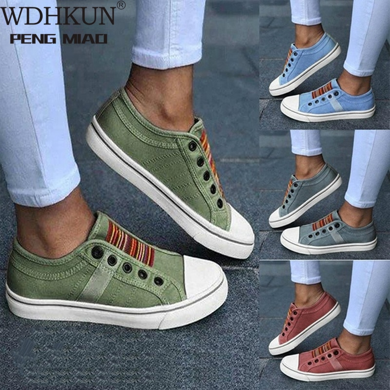 2020 Low-cut Trainers Canvas Flat Shoes Women Casual Vulcanize Shoes New Women Summer Autumn Sneakers Ladies WDHKUN