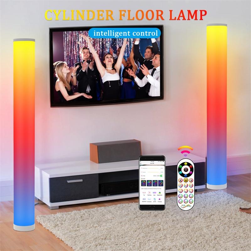 Cylinder LED Floor Lamp RGB Atmospheric Night Light with APP Smart Remote control Standing Lamp Decoration Living Room Bedroom enlarge