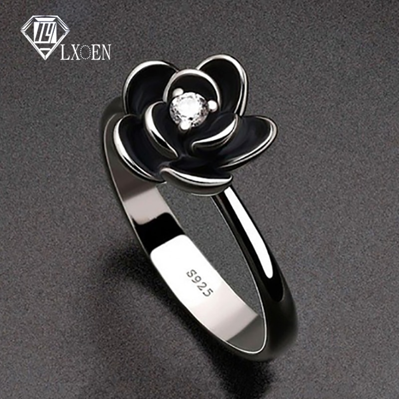 aliexpress.com - Simple Flower Gothic Party Rings for Women with Black Stainless Steel Engagement Ring for Girl Party Best Gift Jewelry Anillos