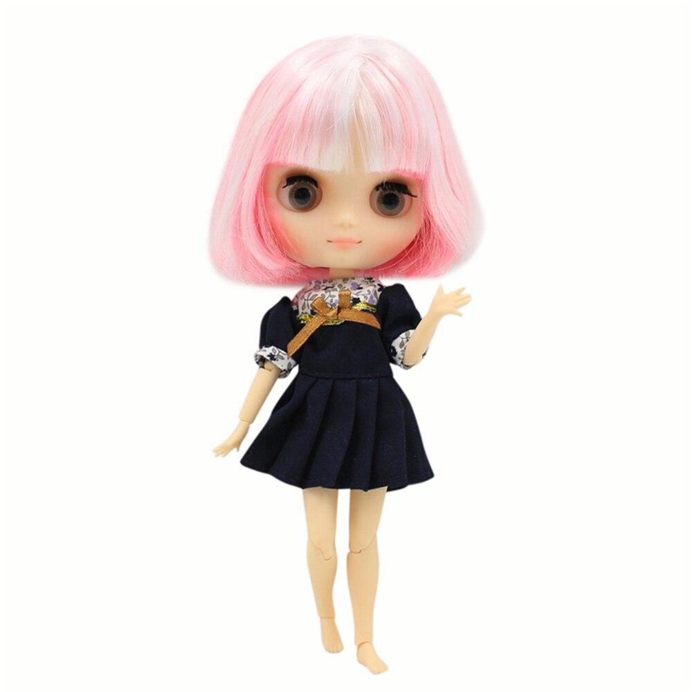 Blyth middie boneca comum corpo matte rosto branco mix rosa 1/8 20cm bjd presente brinquedo