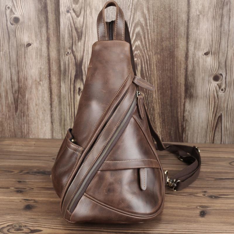 Роскошный кожаный треугольный рюкзак для отдыха для мужчин и женщин, Дорожный Кожаный Рюкзак, подходит для Ipad, маленький портативный мужско...