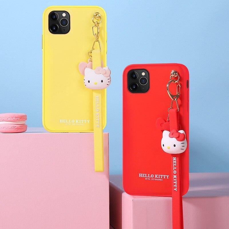 مرحبا كيتي السائل سيليكون جراب هاتف حزام اليد حماية الحال بالنسبة Iphone12/12Promax مكافحة الحشف لمكافحة خسر مع الحبل