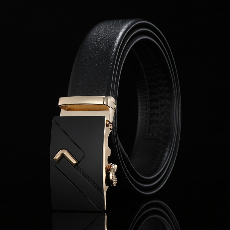 Peikong Brand Fashion High Quality Automatic Buckle Black Luxury Genuine Leather Waist Belt Business Male Designer Belts For Men