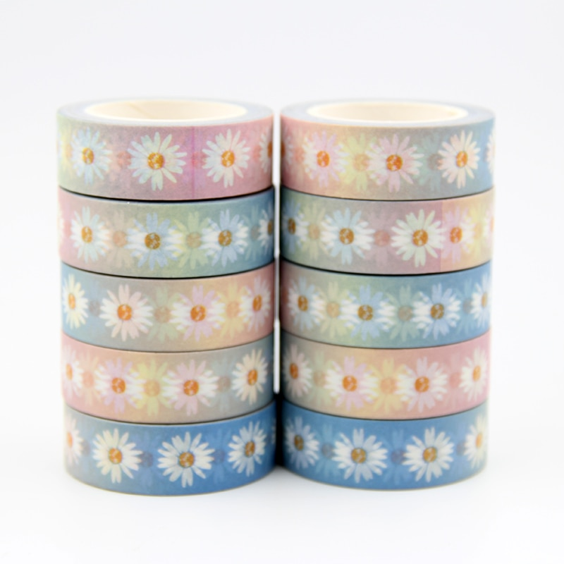 10PC 15MM*10M Rainbow chrysanthemum Flower Designs Wide Washi Tape Scrapbooking  Japanese Album DIY Decorative Tape set