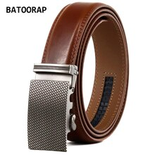 New Men's Belt Brown Leather Automatic Buckle Alloy Classic Trouser Strap Cowhide Ratchet Belts TZP-21007