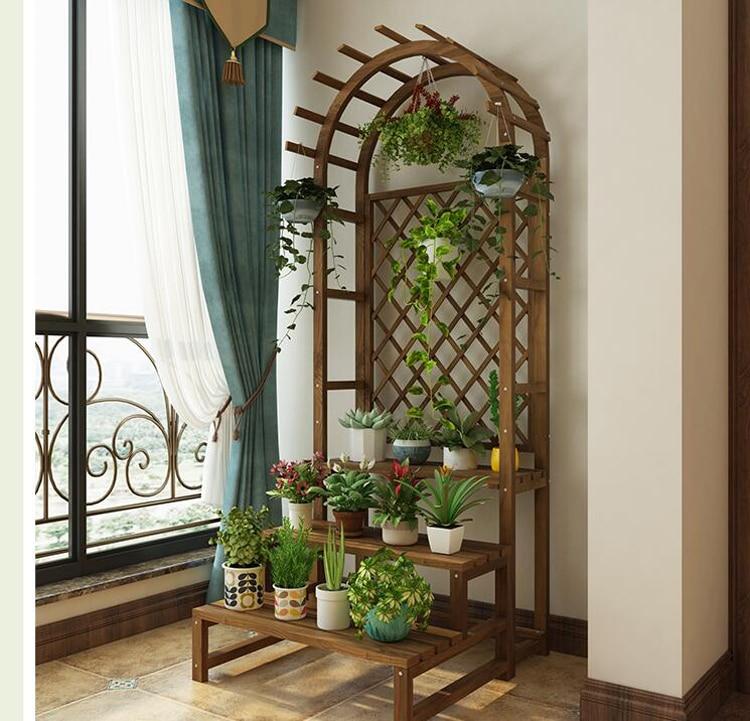 Creative wooden balcony flower stand solid wood multilayer floor flower shelf indoor living room flower pot stand plant rack недорого