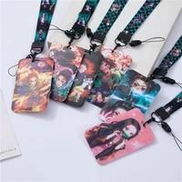 anime demon slayer kimetsu no yaiba neck strap lanyard for keys usb id card set mobile phone straps webbing ring hanging rope