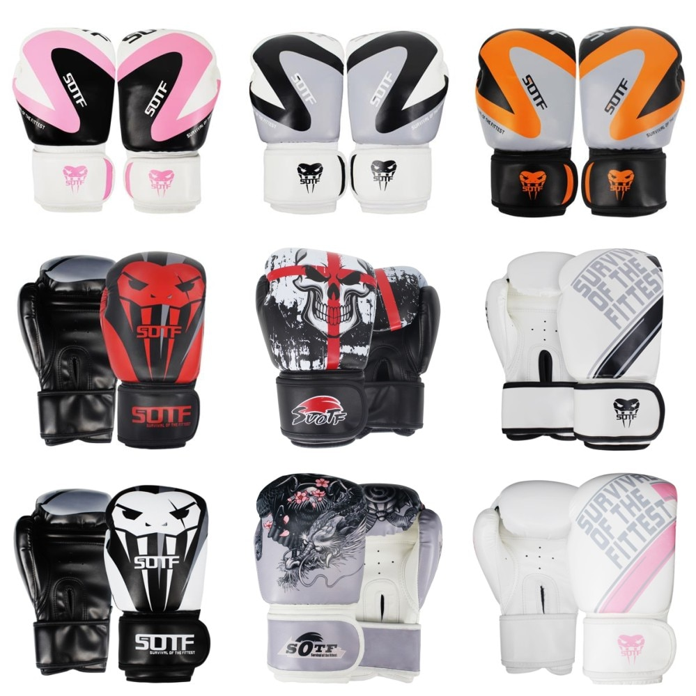 SUOTF, ММА, драконий воин, боксерские спортивные кожаные перчатки, тигр, Муай Тай, боксерские подушечки, бои для женщин/мужчин, Санда, бокс, тайс...