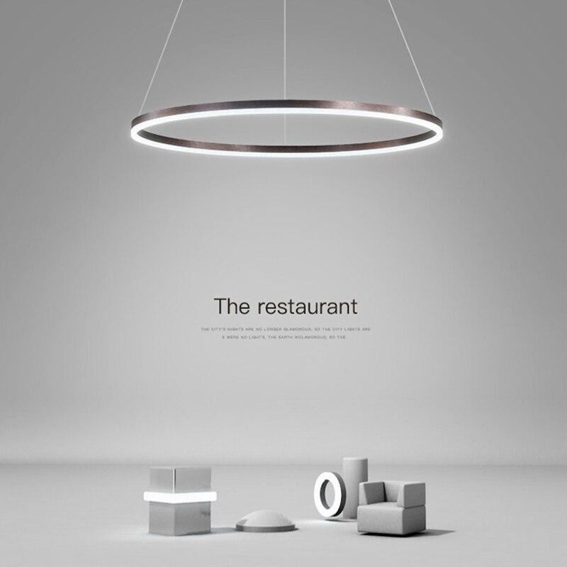 أسود/ذهبي/براون الحديثة الثريا مطعم مصباح لغرفة الطعام دائرة خواتم الاكريليك الألومنيوم الجسم قلادة LED مصباح