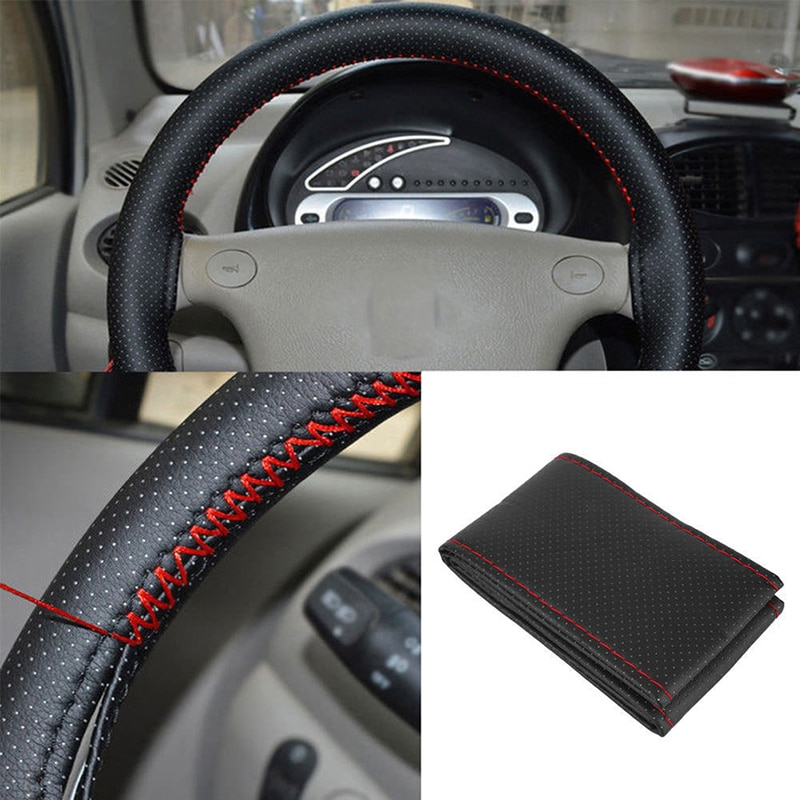 Black+Red PU Leather DIY Car Steering Wheel Cover 38cm With Needle And Thread