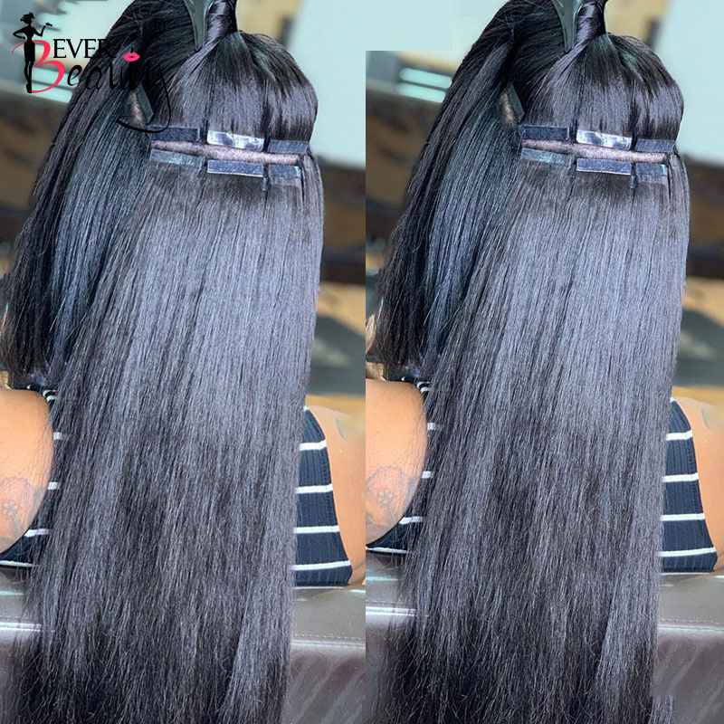 Straight Tape In Human Hair Extensions Skin Weft Adhesive Invisible Brazilian Natural Black Hair Extensions Ever Beauty
