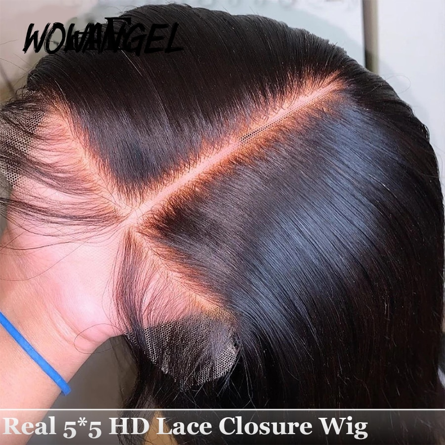HD Lace Closure Transparent Lace Frontal Wigs Skin Melt 30 Inch Straight Invisible 5X5 Lace Front Human Hair Wigs Brazilian Wigs