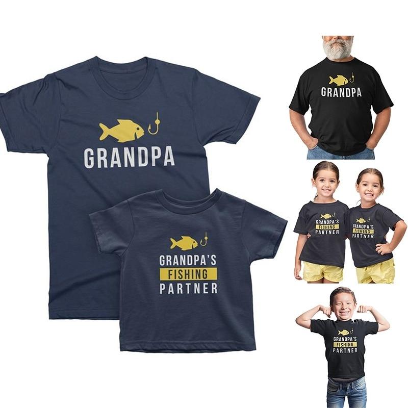 Grandpa Grandson Matching T-shirts for Fishing Grandpa Grandpas Fishing Partner Funny T Shirts Harajuku