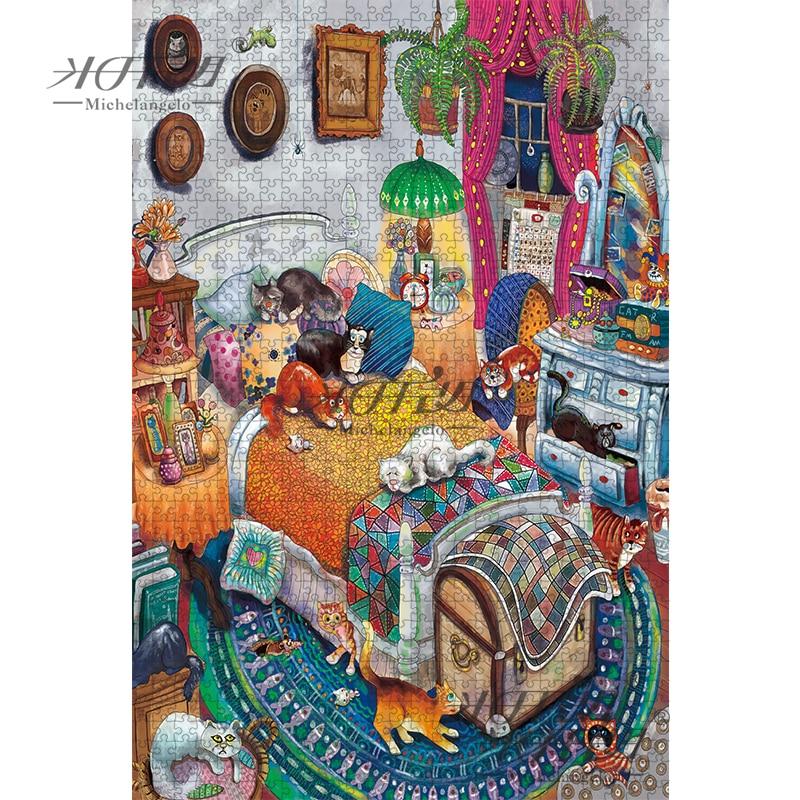 Микеланжело деревянный пазл 500 1000 1500 2000 штук кошка спальня мультфильм животные ребенок обучающая игрушка Живопись Искусство Декор