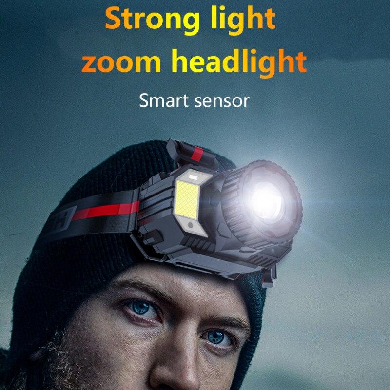 Linterna frontal LED T6 para exteriores, recargable, con Zoom, impermeable, IPX4, carga...