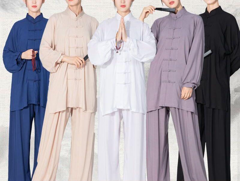 Unissex 6 cores puro algodão crianças & adulto kung fu artes marciais ternos wushu taiji roupas tai chi uniformes curto/manga longa