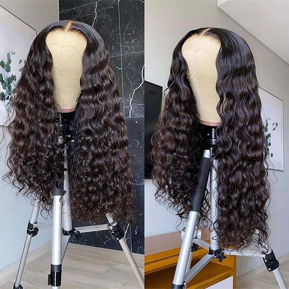 Curly Wave Lace Closure Wigs 200% Density Remy Brazilian Hair Wig Pre Plucked Bleached Knots Wigs 4x