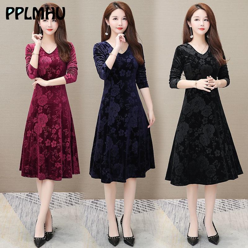 Casual Plus Size 5xl 4xl Print Flower Velvet Dress Spring Women V-neck A-line Long Sleeve Dresses Club Party Vestidos Black Red
