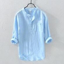 100% pur lin pull chemise homme décontracté trois quarts manches hauts mode solide bleu respirant vêtements pour hommes Y2933