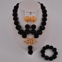 trendy black women necklace african jewelry set zcq02 05