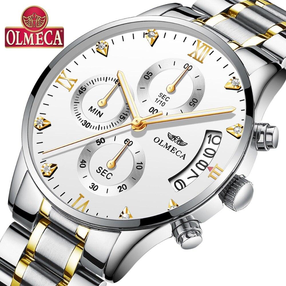 Reloj OLMECA para hombre reloj de pulsera de acero inoxidable de lujo de moda militar diamante gran Dial blanco reloj Saat reloj Masculino