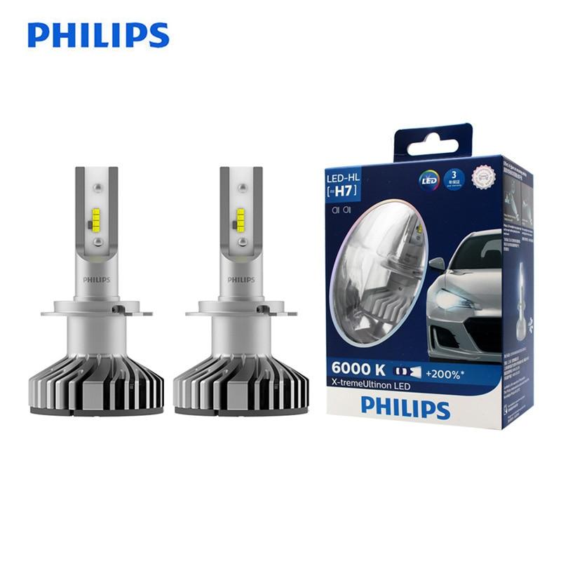 Philips LED H7 25W X-treme Ultinon LED Car Headlight Auto Lamps 6000K White Original Bulbs +200% Brighter 12985BWX2, Pair