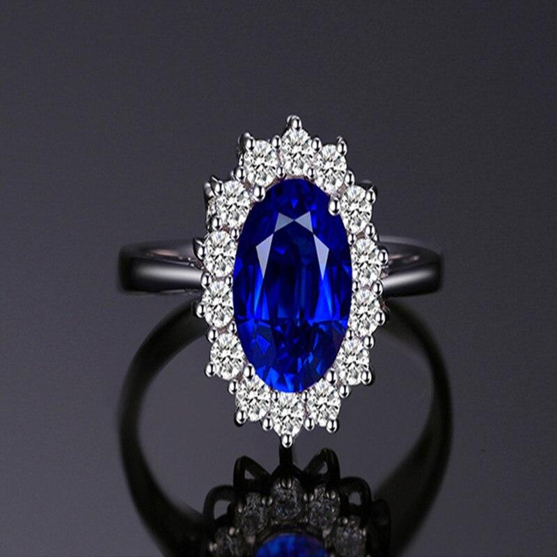 Princesa Diana-anillos de piedras preciosas para mujeres, joyas de boda, joyería de...