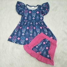 Neue Stil Fly Hülse Mädchen Dreamcatcher 2 Stück Outfit Nette Flattern Hülse Tunika Splice Shorts Kleidung Sets