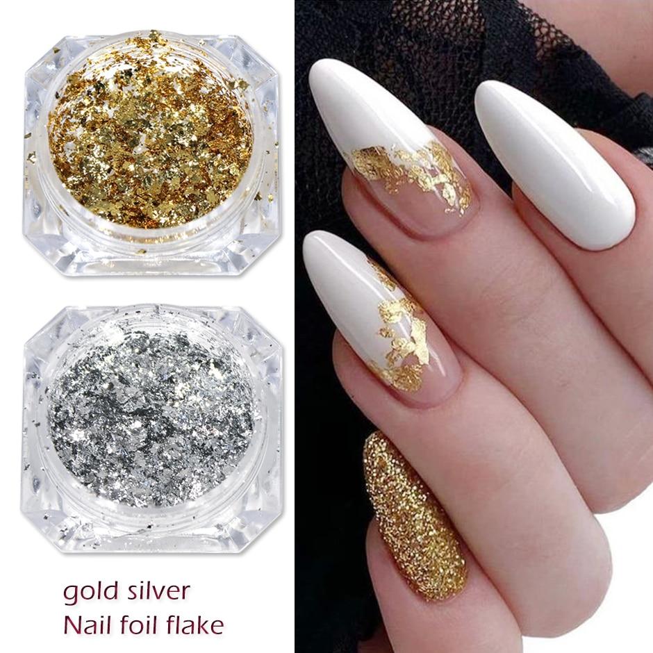 2021 Gold Silver Luxury Nail Decoration Glitter Flakes Aluminum Foils Sequins Chrome Powder for Mani