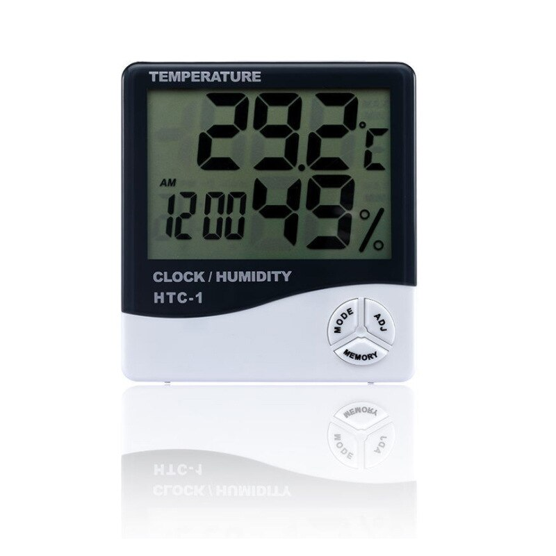 Cheap LCD Electronic Digital Temperature Humidity Meter Indoor Outdoor Thermometer Hygrometer Weather Station Clock HTC-1 htc 1 indoor room lcd digital electronic thermometer hygrometer measuring temperature humidity meter alarm clock weather station