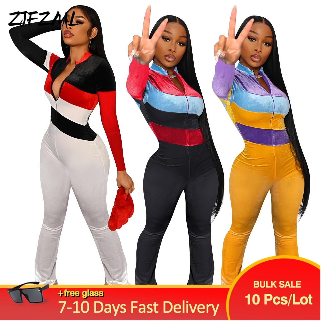 Bulk Wholesale Items Lots Velour Rompers Womens Jumpsuit Elegant Color Block Patchwork Bodycon Overall Hipster Velvet Bodysuits