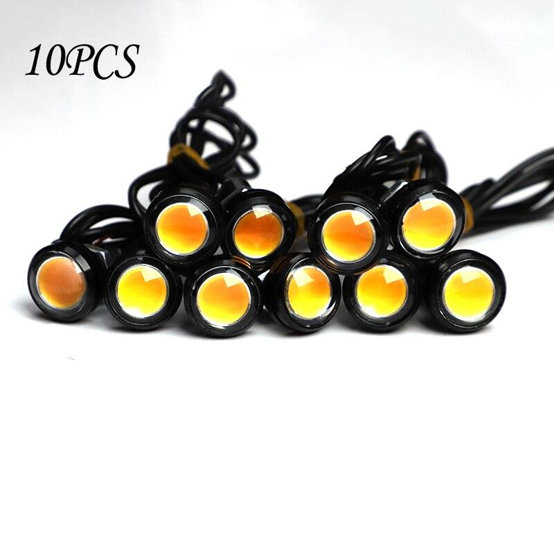 10 unids/pack 18MM coche ojo de águila DRL Led luces de circulación diurna LED 12V marcha atrás señal de estacionamiento lámparas de automóviles