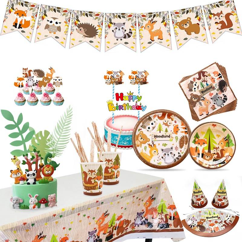 New Forest Animal Series WOODLAND Zoo Fox Lion Elephant Small Birthday Party Disposable Cake Decoration Supp