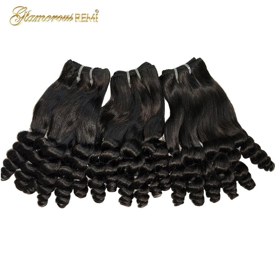 Feixes de cabelo humano brasileiro funimi cabelo tece personalizado duplo desenhado bouncy onda remy extensões de cabelo para a mulher cor natural