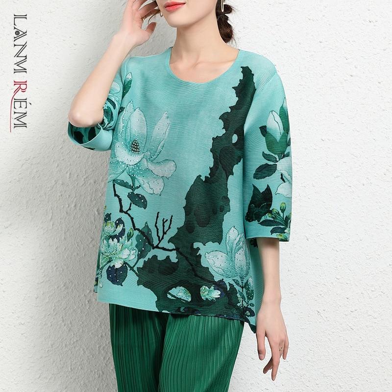 LANMREM مطوي الأخضر تي شيرت فضفاض مستقيم المرأة زهرة طباعة خمر الخريف قمصان مستديرة الرقبة قمة الموضة 2021 YK169