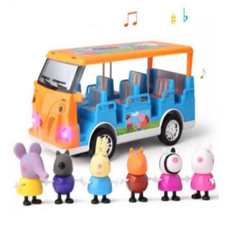 Peppa Pig autobús escolar con música ligera y función de dirección educación familiar niños juguetes Roles figura de acción niños mejores regalos